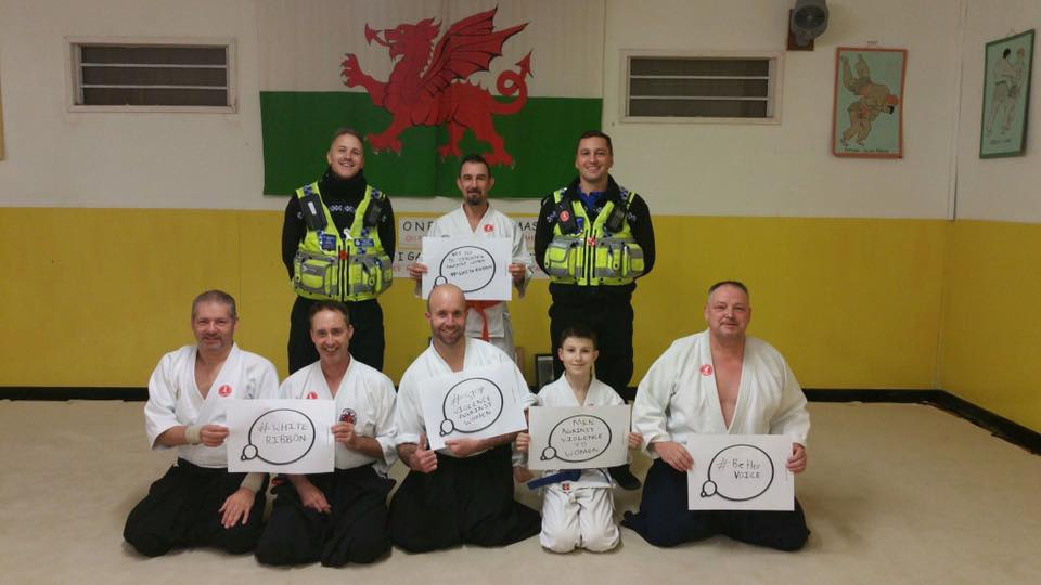 Pen-y-Bont Aikido supporting the South Wales Police campaign to stop domestic violence.